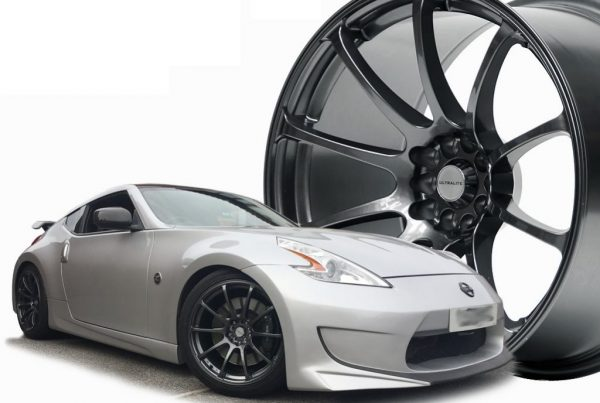 Nissan 370Z on 19 Ultralite R5 in gun metal