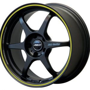BUDDY CLUB SF 17 X 7 - ET42 - 100 X 4 - MATT BLACK YELLOW PINLINE