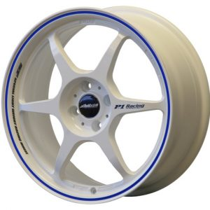 BUDDY CLUB SF 17 X 7 - ET42 - 100 X 4 - GLOSS WHITE BLUE PINLINE