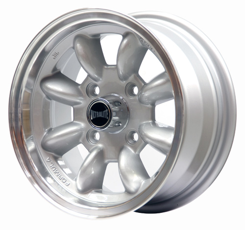 ULTRALITE MINI WHEELS 13x6J - ET10 - 4x101.6 PCD - SILVER WITH POLISHED RIM