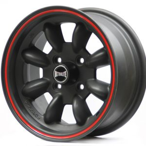 ULTRALITE MINI WHEELS 13x6J - ET10 - 4x101.6 PCD - RED WITH BLACK PINLINE