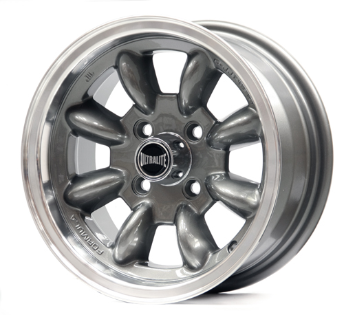 ULTRALITE MINI WHEELS 13X6J - ET10 - 4x101.6 PCD - GUN GREY POLISHED RIM