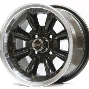 ULTRALITE MINI WHEELS 13x6J - ET10 - 4x101.6 PCD - BLACK WITH POLISHED RIM