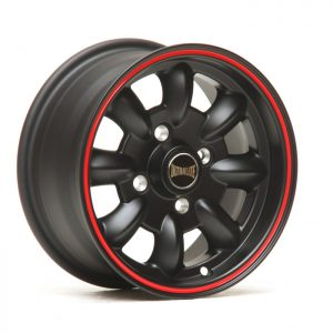 ULTRALITE MINI WHEELS 12x5.5J - ET20 - 4x101.6 PCD - MATT BLACK + RED PINLINE