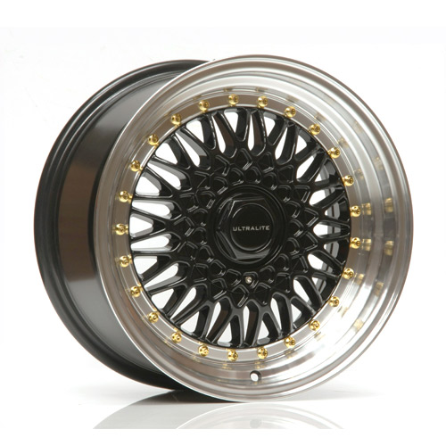 ULTRALITE RS 16x9 - ET20 - 4x100+108 PCD - BLACK POLISHED RIM GOLD RIVET