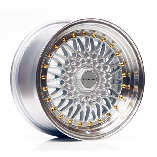 ULTRALITE RS 16x9 - ET20 - 4x100+108 PCD - SILVER POLISHED RIM DARK GOLD RIVET