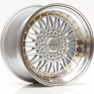 ULTRALITE RS 17x10 - ET20 - 4x100 5x100 PCD - SILVER POLISHED RIM GOLD RIVET