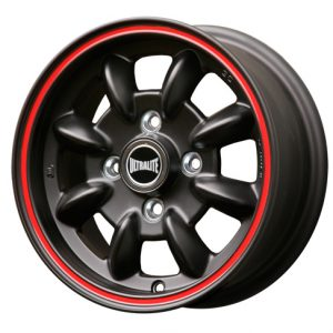 ULTRALITE MINI WHEELS - 12x5J - ET30 - 4X101.6 PCD - BLACK WITH RED PINLINE